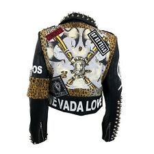 Faux Leather Moto Jacket with Studs and Faux Fur Leopard Size M