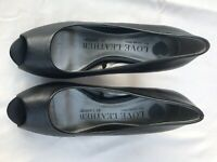 Love Leather Women's Black Leather Peep Toe Shoes Size 5 (K83)