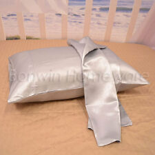 SILVER LUXURY SILKY SOFT SATIN STANDARD PILLOWCASES / PILLOWSLIP -2PC