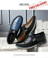 Mens Hombre Leather Shoes Zapatos Casual Slip On Breathable Lace Loafers Sneaker