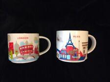Starbucks London Paris YAH Mug Set You Are Here Big Ben Eiffel Tower Coffee Cups