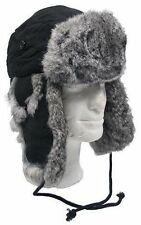 TRAPPER / RUSSIAN STYLE WINTER BLACK HAT VERY WARM WITH REAL RABBIT FUR