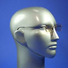 Computer Reading Glasses Frameless Lightweight Aspheric Lens Black Trim +3.00