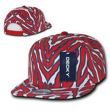 Red & White Zebra Animal Print Vintage Snap back Classic Flat Bill Hat Cap Hats