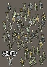 Genki Gear Zombies Lindo Comedia Terror Funny Monster Cartoon A3 Pared Poster