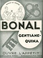 Publicité ancienne Bonal gentiane-quina 1932 issue de magazine