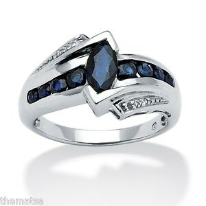 SAPPHIRE PLATINUM OVER STERLING SILVER DIAMOND ACCENT RING SIZE 5 6 7 8 9 10