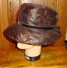 Vtg Movie Modes Caspar Davis Feather Hat Bucket Shape 1940s