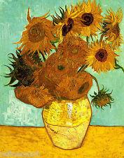 Van Gogh Vase with Twelve Sunflowers Fine Art Giclee Canvas Print