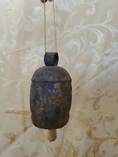 """Antique Iron Cow Bell With Clapper traditional animal tag Q.1 Bell 6 """" x 3 1/2"""""""