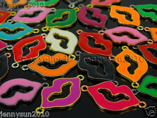 20Pcs Colorful Smooth Metal Loving Lips Bracelet Connector Charm Beads Mixed