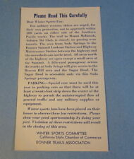 Old 1940's WWII - S.P. RAILROAD - TRAIN Announcement CARD - Winter Sports Fans
