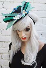 BIRD FEATHER BEADED CARMEN MIRANDA MINI TOP HAT HALLOWEEN ZOMBIE BRIDE GOTH