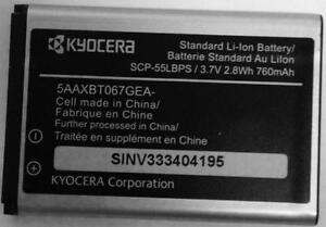 New OEM Kyocera SCP-55LBPS 5AAXBT067GEA 760mAh Original Battery S1360 S1370JAX