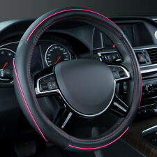 Universal Leather Pink Line Steering Wheel Cover Breathable 38 cm for Sedan SUV