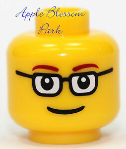 NEW Lego Male Boy MINIFIG HEAD w/Black Rim Glasses & Smile - Police/City/Agents
