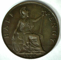 1906 Bronze Half Pence UK Half Penny Britain Coin YG