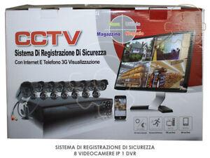 Kit videosorveglianza 8 videocamere IR colori HD ip usb lan 1 dvr alimentatori c
