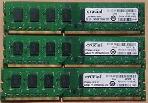 6GB (3x2GB) Crucial  PC3-8500 DDR3-1066MHz 240 pin DIMM CT25664BA1067.M16FF