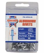 50 x Faithfull 4.0mm 13mm Long Aluminium Rivets Pop / Blind Main Rivet Faiar4l50