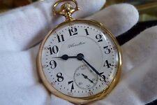1920 RR Grade 14K Gold Hamilton Pocket Watch 992 16 Size 21 Jewels Double Roller