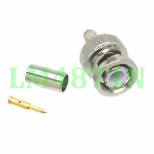 10pcs Connector BNC male plug crimp RG58 RG142 LMR195 RG400 cable straight