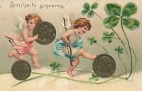 EARLY 1900's VINTAGE FRENCH EMBOSSED COINS & 4 LEAF CLOVERS & CUPIDS POSTCARD