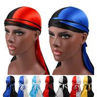 Women Men Silky Durag Head Wrap Cap Summer Bandannas Rag Hat Solid Fashion YJ
