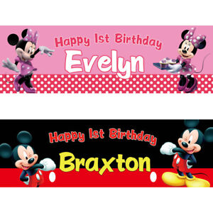 2 personalised birthday banner mickey minnie mouse children kid party poster