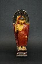 ANTIQUE CEYLONESE  BUDDHA carved painted wood SRI LANKA Ceylon