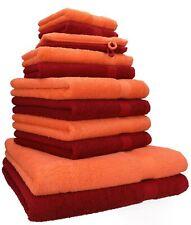 12er Handtuch Set Handtücher Duschtücher PREMIUM 100% Baumwolle orange / rot