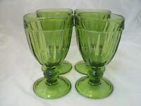 "Artimino Glass PUB Green Set of 4-6 1/4"" Water Goblets Glasses Discontinued EC"