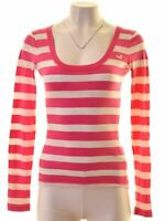 HOLLISTER Womens Top Long Sleeve Size 6 XS Pink Striped Cotton  MH06