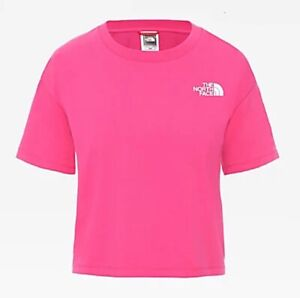 Women's The North Face 100% Cotton CROPPED SIMPLE DOME T-SHIRT Pink-Size M