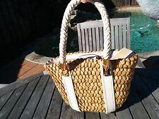 Michael Kors Santorini Corn Husk & White Leather Small Tote Handbag NEW W TAGS