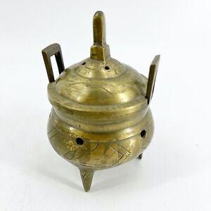 1 34 inch Diameter Vintage 1980/'s 2 Piece Ornamental Brass Incense Burner