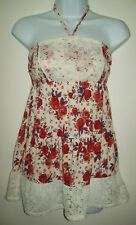 decree womens top size m red floral strapless babydoll smocked bust lace trim