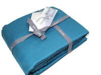 West Elm Dark Aqua Marine Blue Tencel Fabric King Sheet Set New