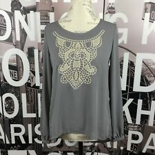 Xhilaration Gray Long Sleeve High Low Tunic Blouse Size Medium