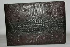 Dark Mahogany Crocodile Embossed Leather Zipper 7 Ring Checkbook Binder