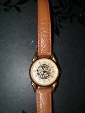 Ladies limit skeleton watch and leather strap, worn twice, new battery