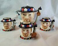 James Sadler Teapot Three Mugs Characters Of Britain Collection Beefeater New