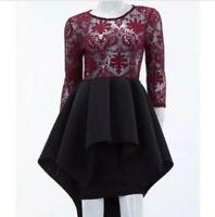 Hi Lo Tiered Scuba Black Dress with Burgundy Sheer Bodice