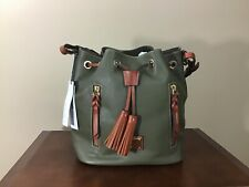 Dooney & Bourke Cooper Pebbled Leather Drawstring Bucket Bag Olive Green