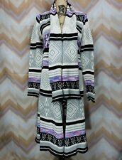 CALIFORNIA GYPSY Sz XL Striped Knit Open front Long cardigan Aztec print