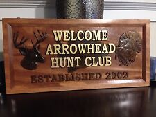 "11"" x 23"" Personalized Hunt Club Sign, Carved Wood Sign, Hunting Sign"
