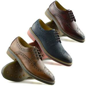 Mens New Ikon Leather Casual Smart Lace Up Oxford Brogues Work Office Shoes Size