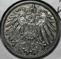 1906-A Germany 1 Mark Silver Coin, XF+/AU Condition