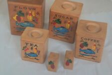 Vintage Nesting Wooden Storage Canisters / Boxes / Cruet Irene series