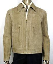 $3950 Gucci Men's Beige Goat Suede Leather Blouson Zip Up Jacket 56R 408369 2602